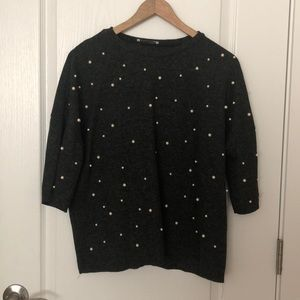 Zara dark grey pearl sweater/shirt
